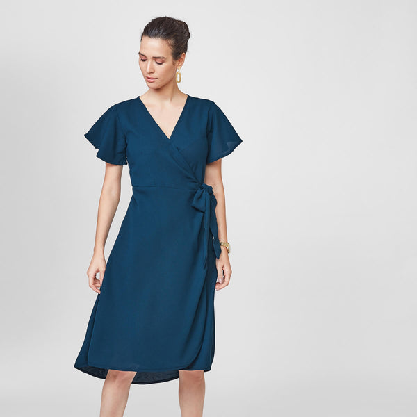 Prussian Blue Wrap Dress