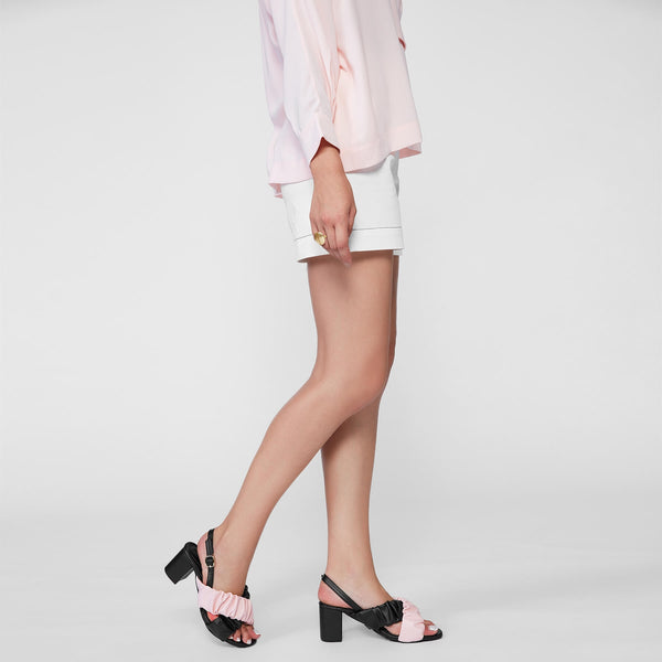 Black & Blush Ruched Block Heels