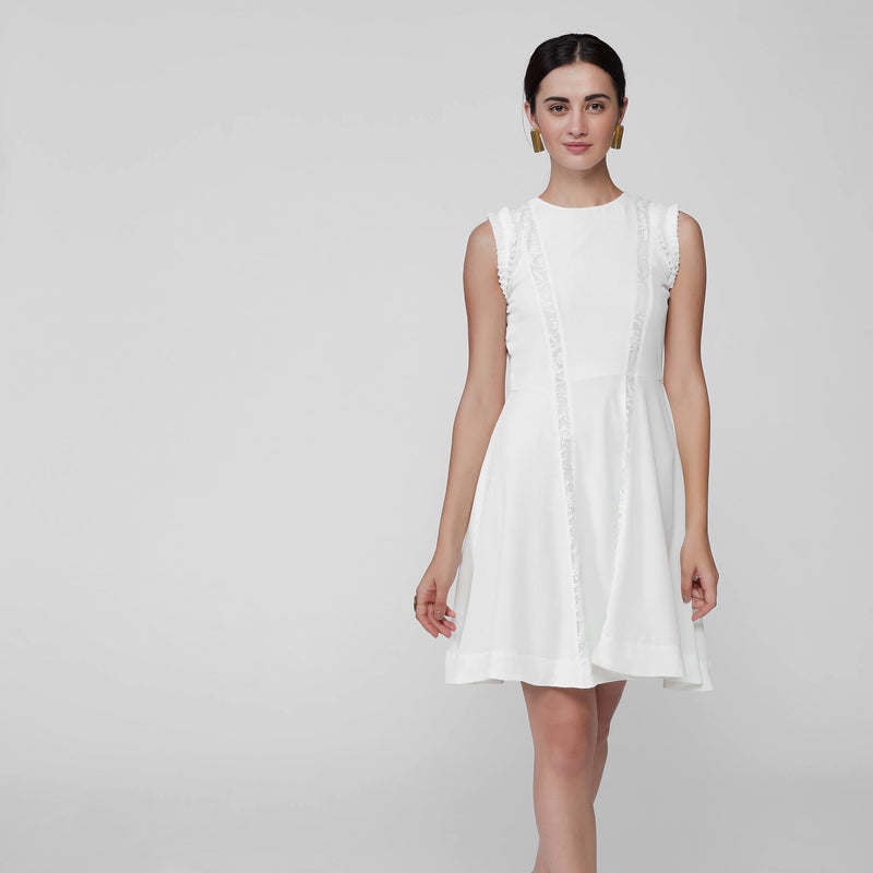 White Lace Panel Skater Dress