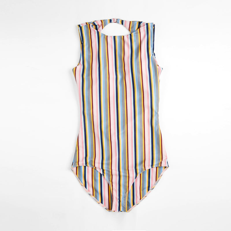 Striped Back Cut Out Swimsuit