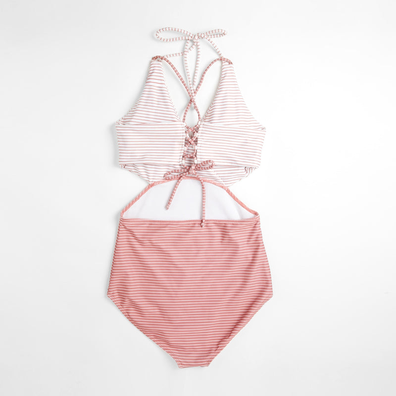 Rose Striped Cut Out Swimsuit