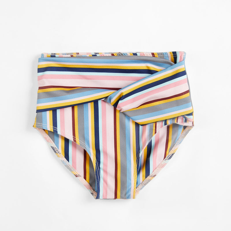 Mini Striped High Waist Bikini Bottom