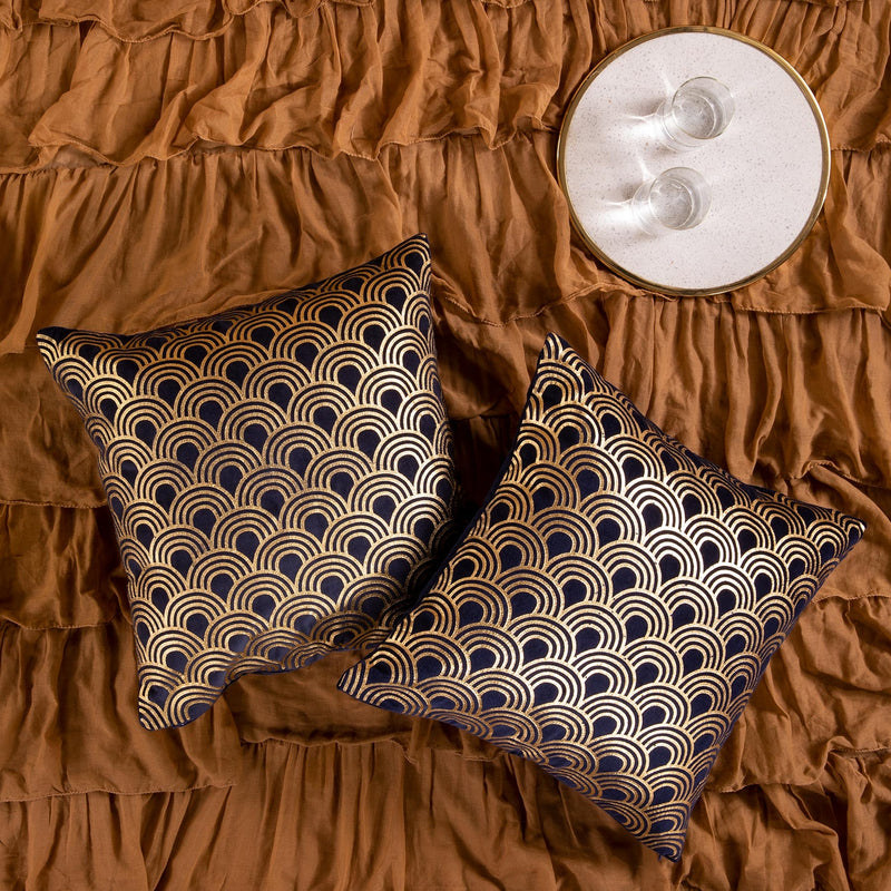 Navy Velvet Scallop Cushion Cover