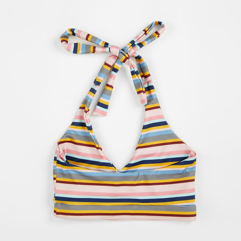 Mini Striped Halter Bikini Top