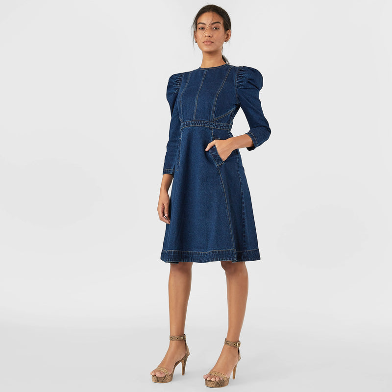 Indigo Denim Puff Sleeve Dress
