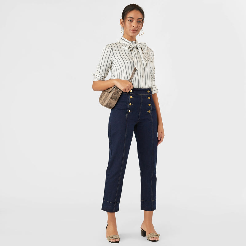 Midnight Denim Buttoned Pants