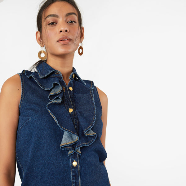 Indigo Denim Ruffle Shirt