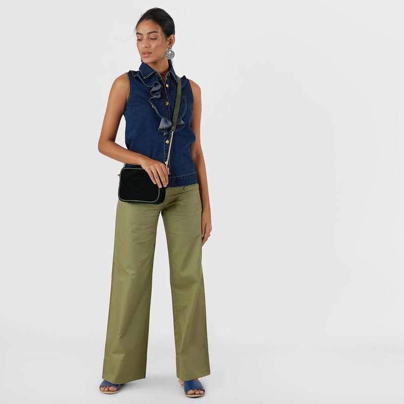 Olive Buttoned Flare Pants