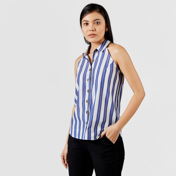 Indigo Striped Sleeveless Shirt