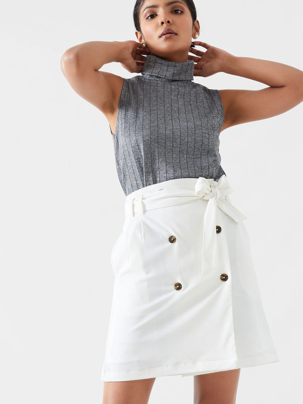 Ivory Belted Mini Skirt