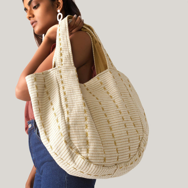 Ivory & Gold Tote