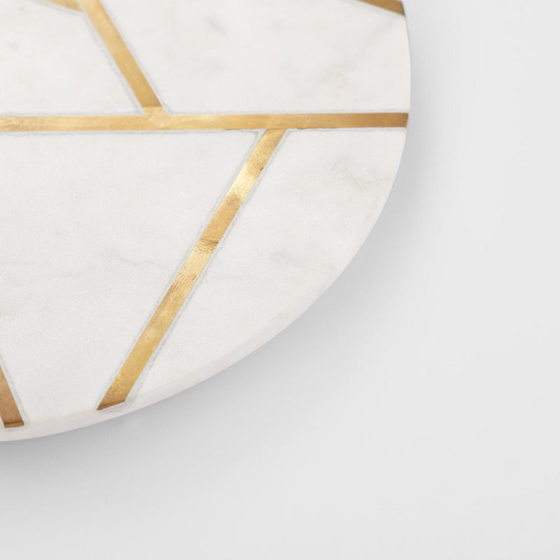 Ivory Marble Art Deco Round Board