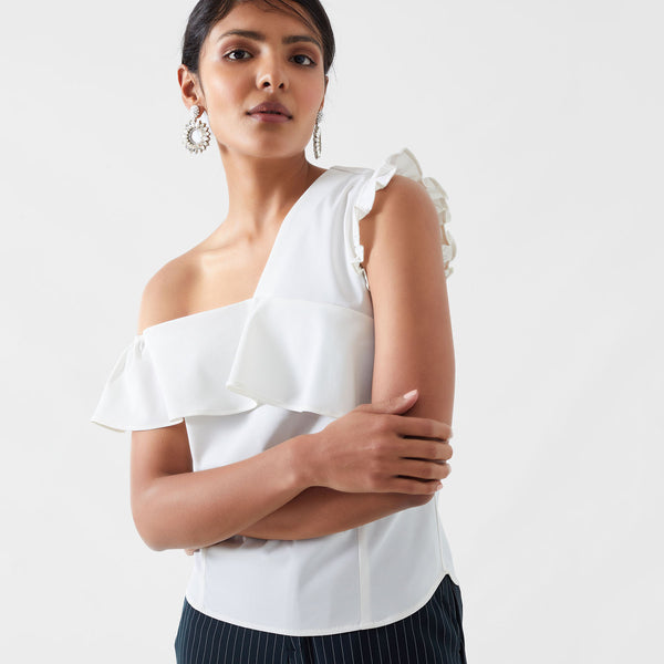 Ivory One Shoulder Ruffle Top