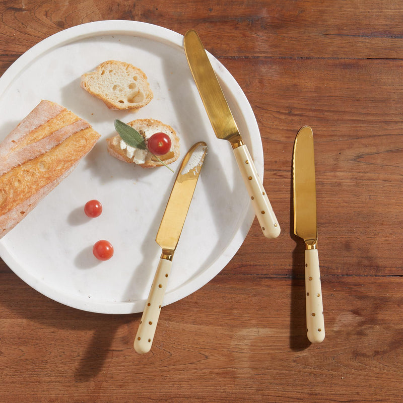 Ivory Studded Dinner Knives Set
