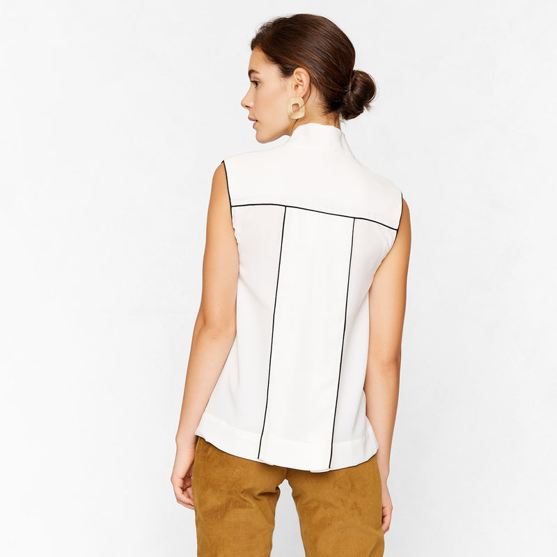 Ivory Neck Tie Top