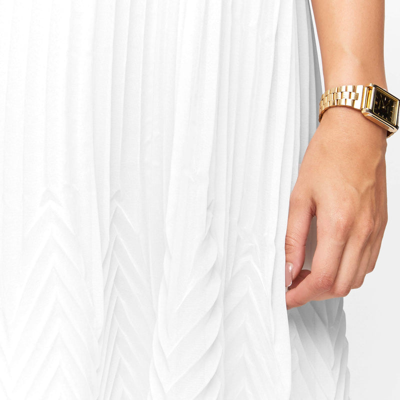 Ivory Sleeveless Pleated Dress