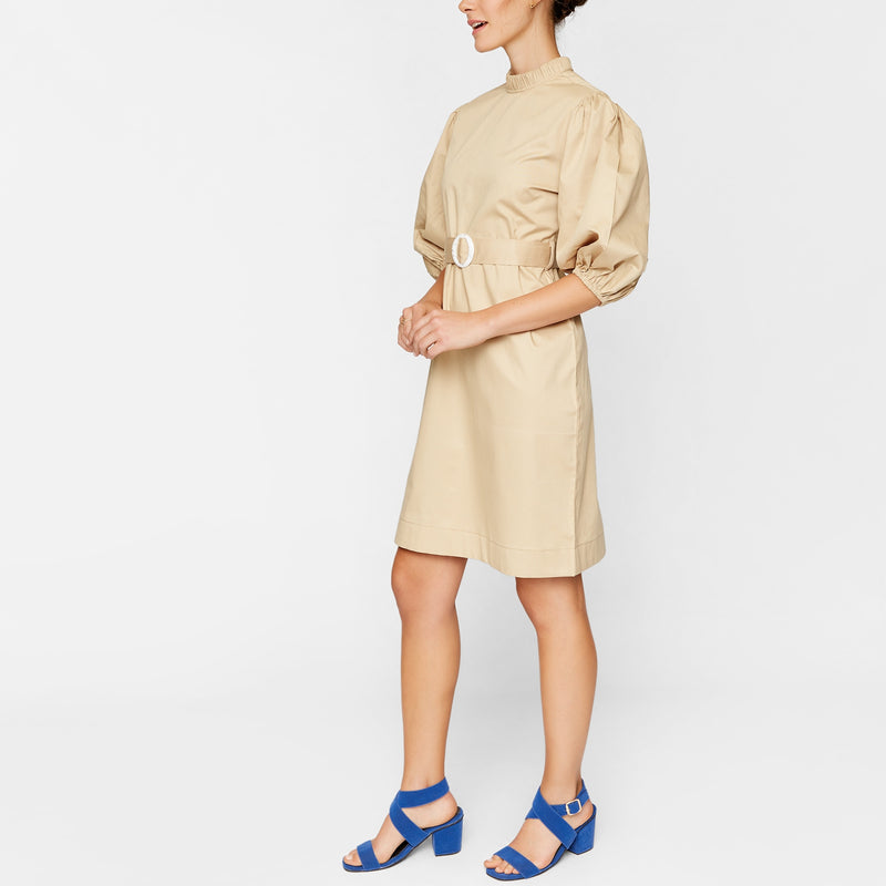 Khaki O Buckle Belted Dress