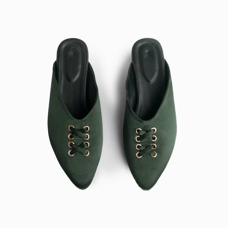 Emerald Lace Up Mules