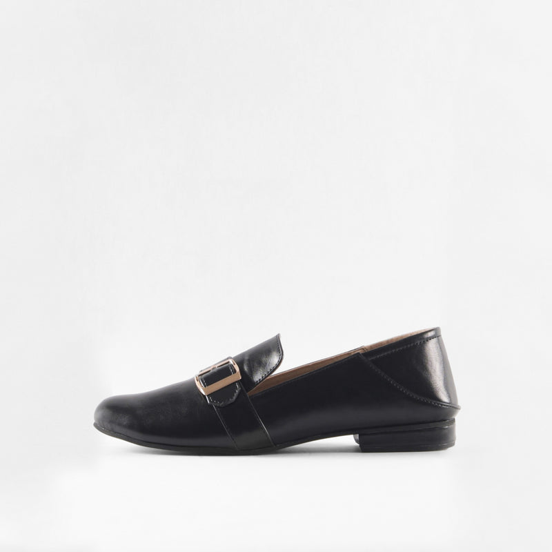 Black Buckle Loafers
