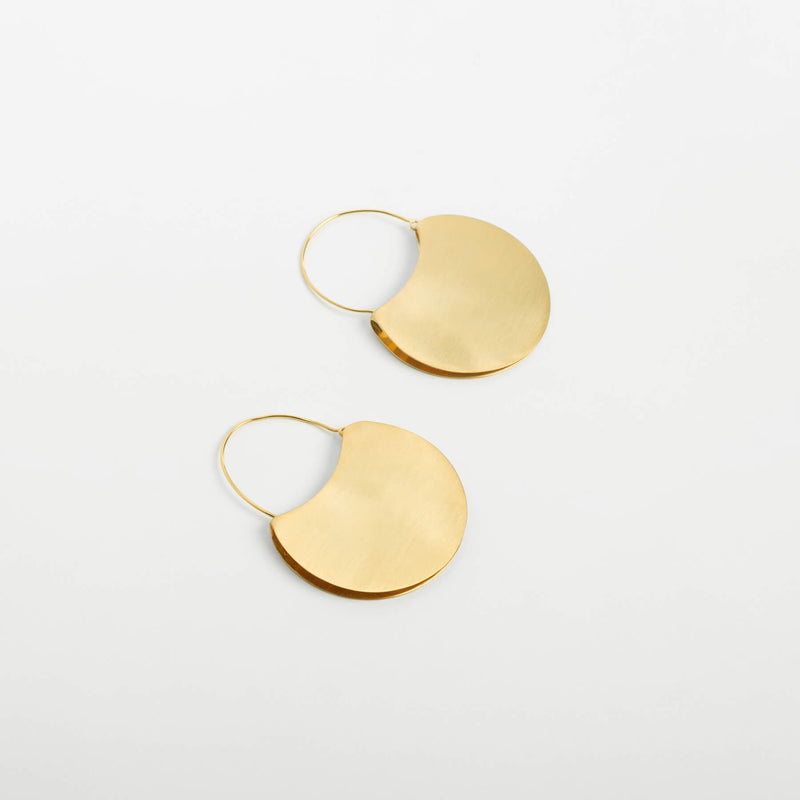 Gold Matte Lock Earrings