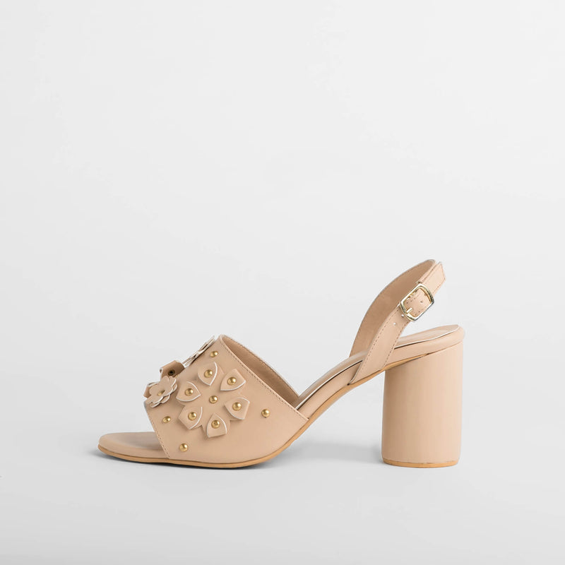 Nude Flower Block Heels
