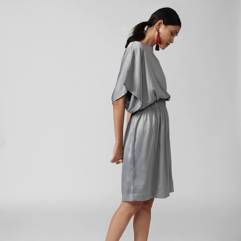 Grey Satin Cinched Dress