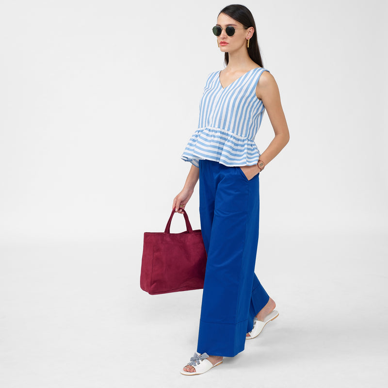Ocean Striped Sleeveless Peplum Top