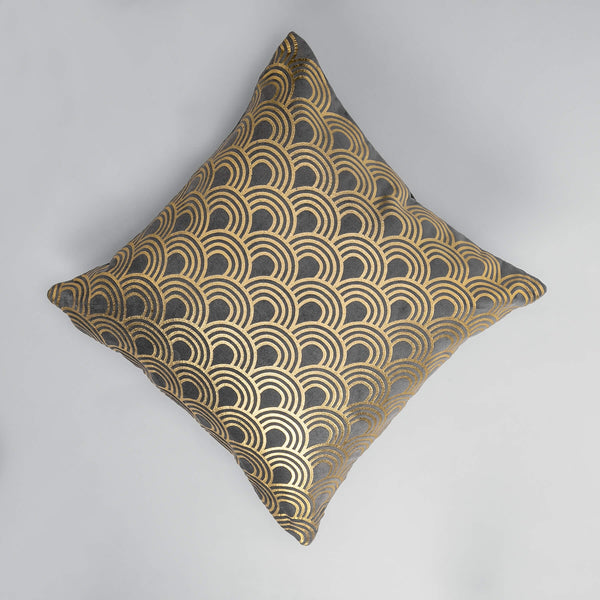 Charcoal Velvet Scallop Cushion Cover
