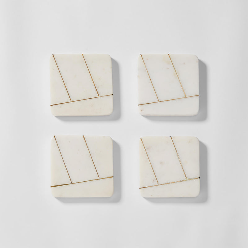 Marble Art Deco Square Coasters