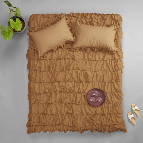 Taupe Ruffle Bed Cover