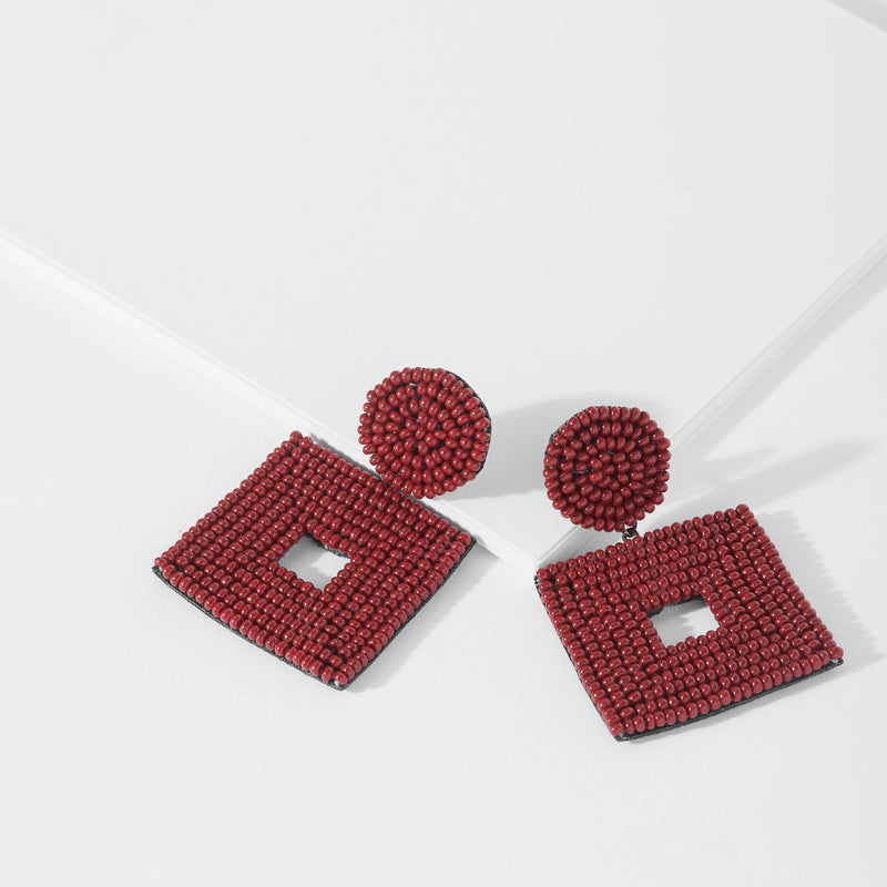 Marsala Square Beaded Earrings