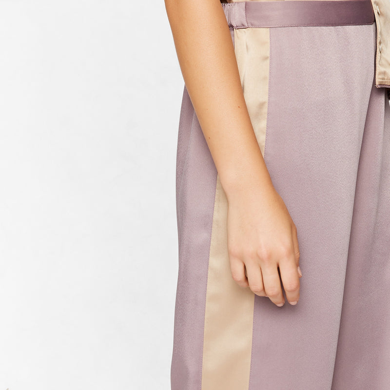 Mauve Satin Sleep Pyjamas