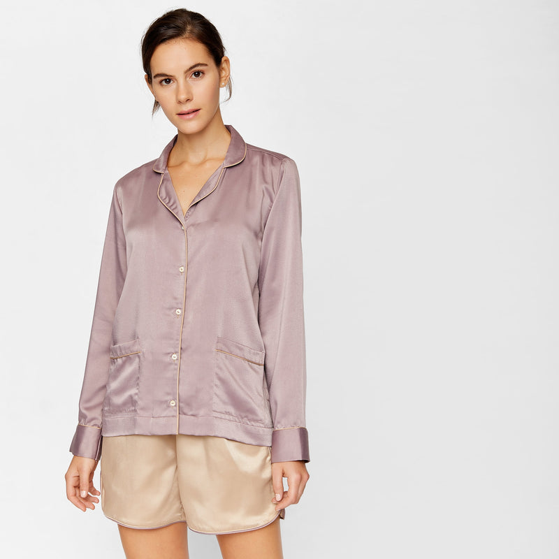 Mauve Satin Sleep Shirt