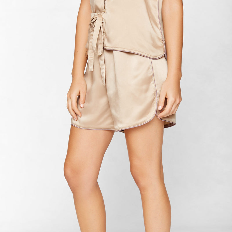 Beige Satin Sleep Shorts