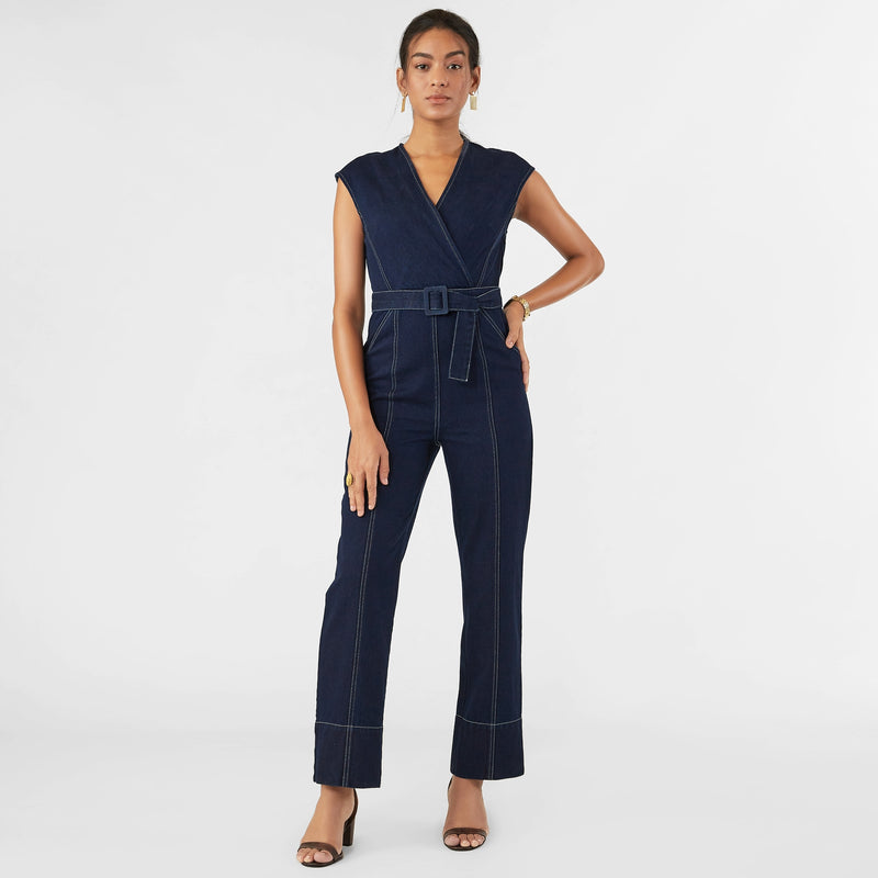 Midnight Denim Overlap Jumpsuit