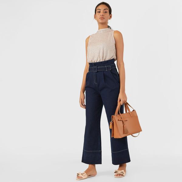Midnight Denim Paper Bag Waist Pants