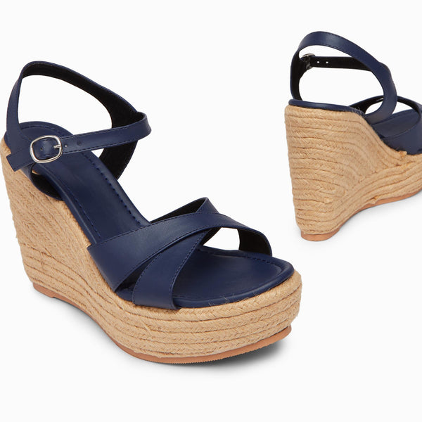 Midnight Cross Rope Wedges