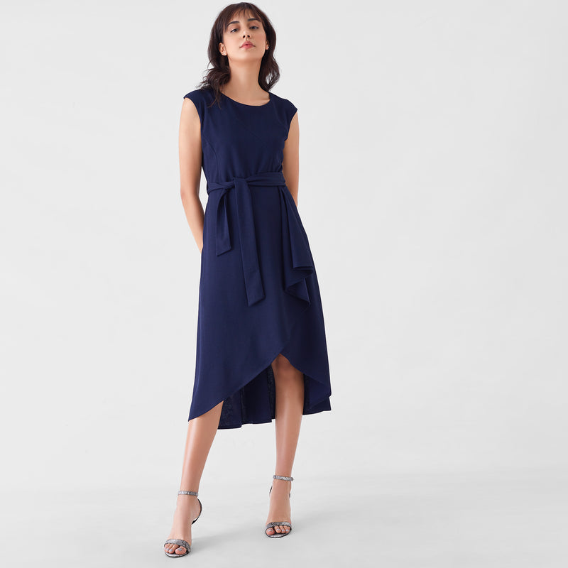 Midnight Herringbone Belted Midi Dress