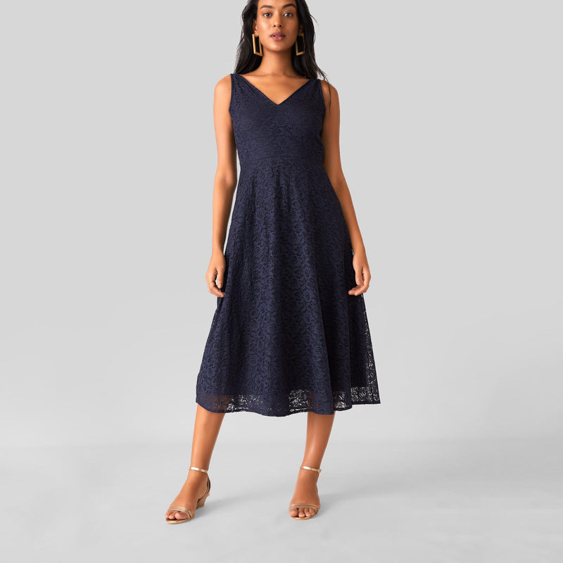 Midnight Lace Midi Dress