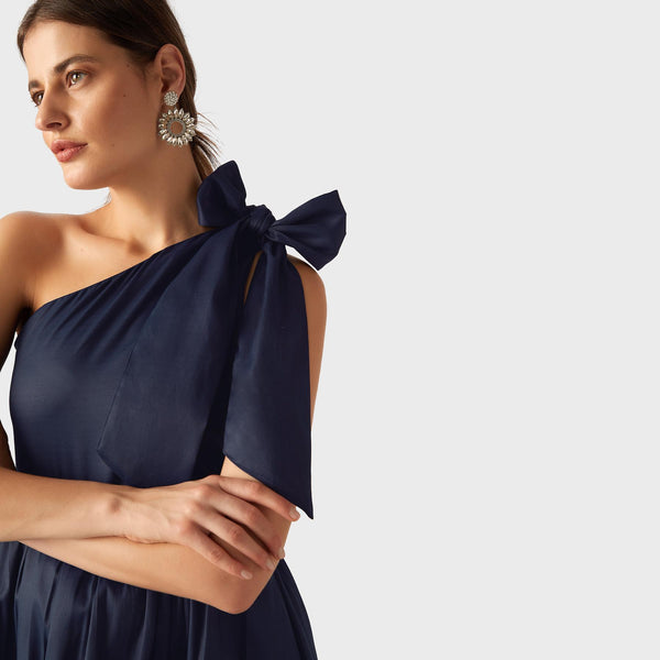 Midnight One Shoulder Tie Dress