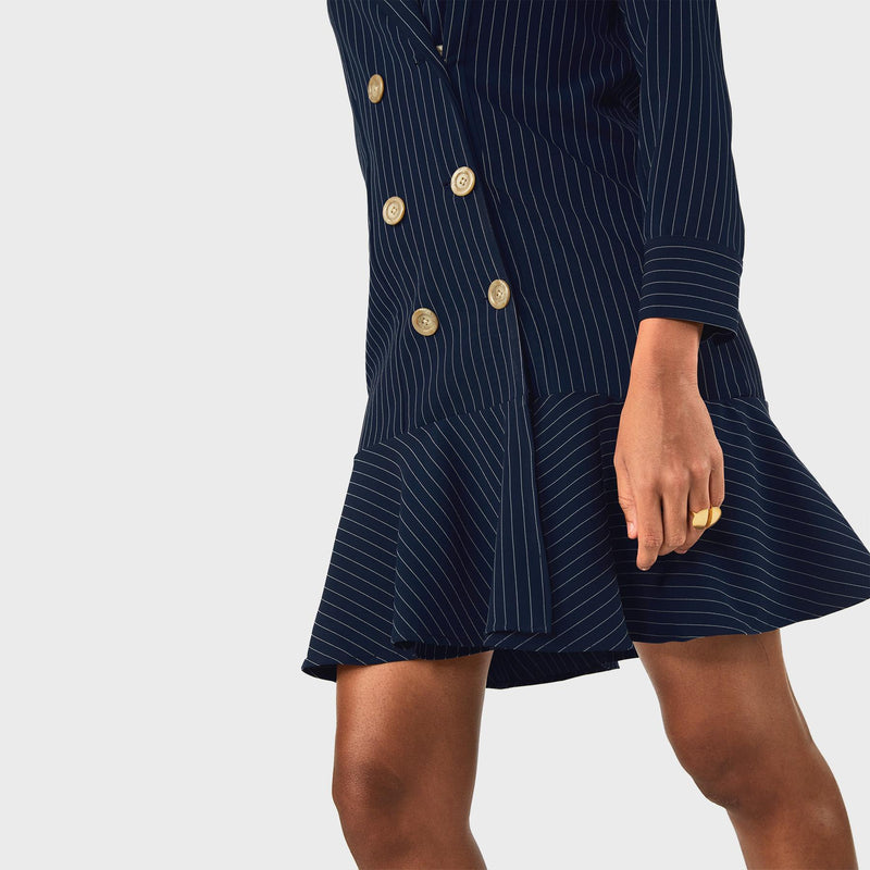 Midnight Pinstripe Blazer Dress