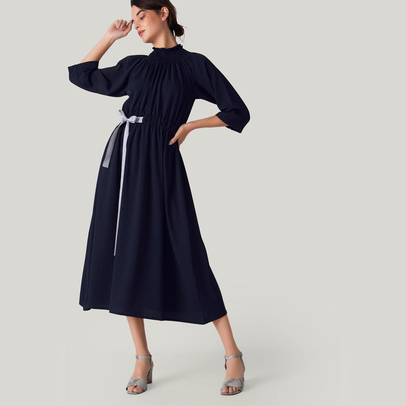 Midnight Smocked Neck Belted Dress