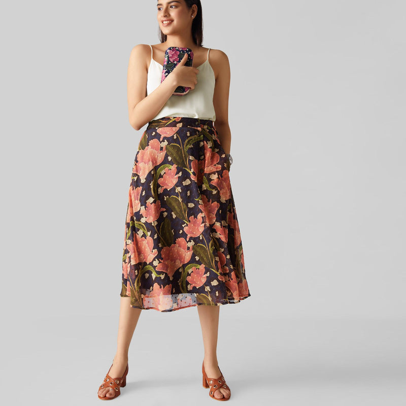 Midnight Spring Midi Skirt