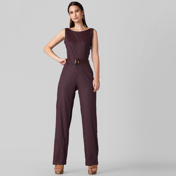 Midnight Striped Belted Jumpsuit