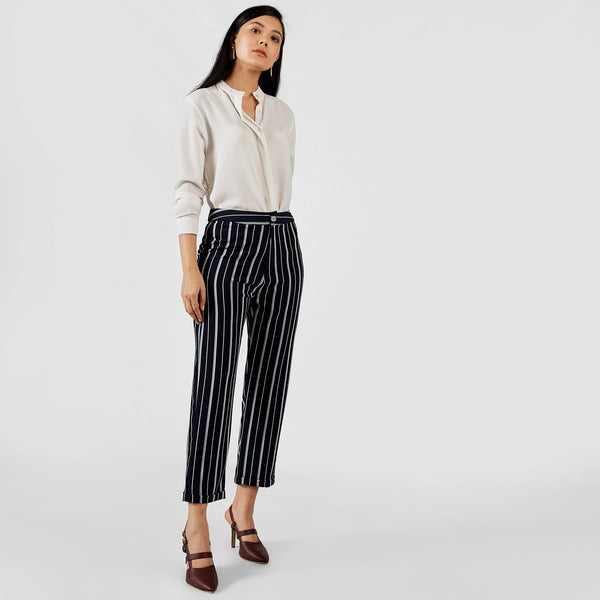 Midnight Striped Tapered Pants