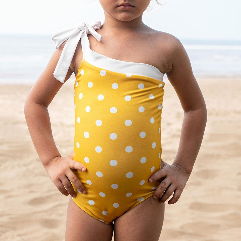 Mini Mustard Polka One Shoulder Swimsuit