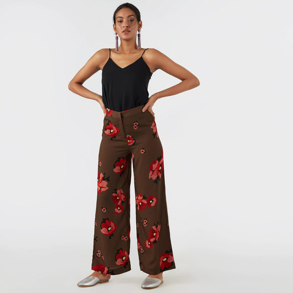 Mocha Bloom Flare Pants