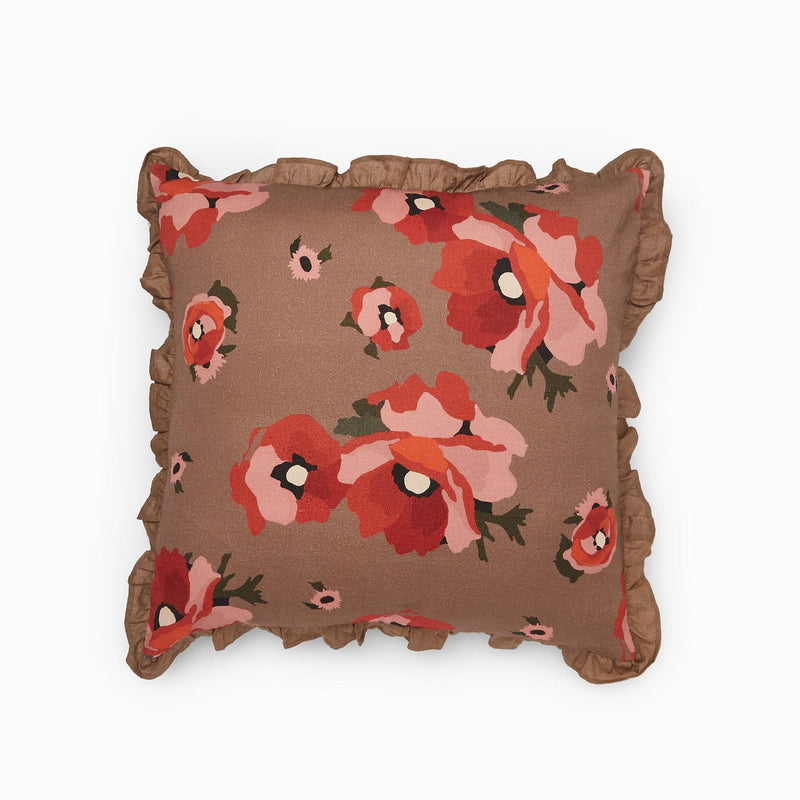 Mocha Bloom Ruffle Cushion Cover