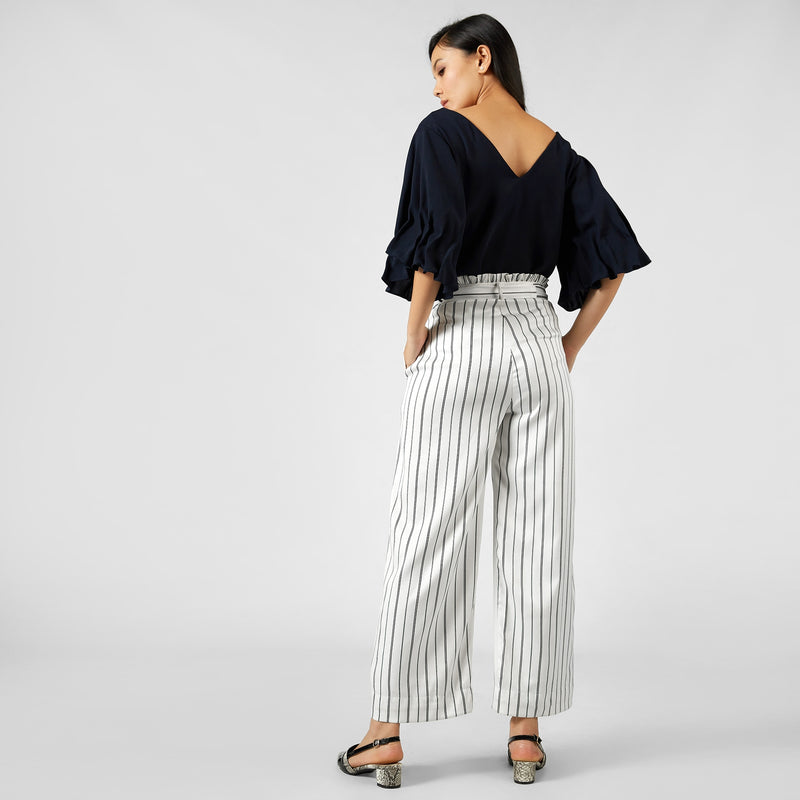 Monochrome Striped Belted Pants