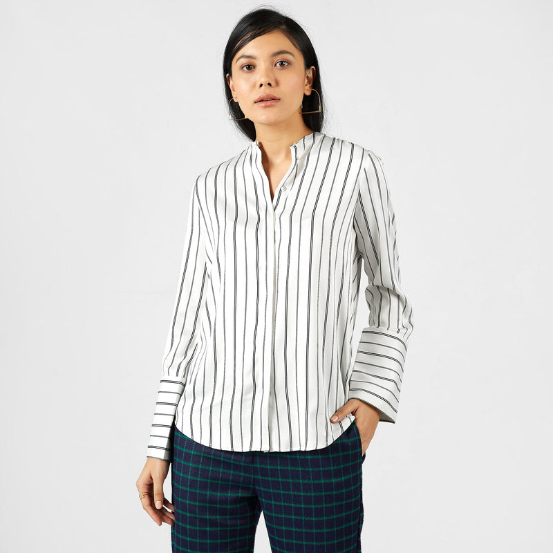 Monochrome Striped Pussy Bow Shirt